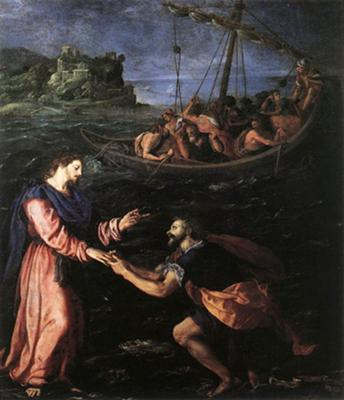 Peter walking on water<br>Alessandro Allori, 1535-1607<br>oil on copper
