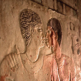 Egyptian gay kiss? 2300 BC, <br>from the British Museum