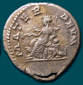 Cybele on a Roman coin as Mater Deum<br>