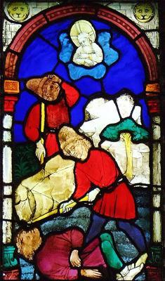 Cain killing Abel by Hans Acker, 1441