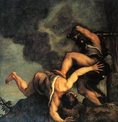 Cain killing Abel by Titian, 1574