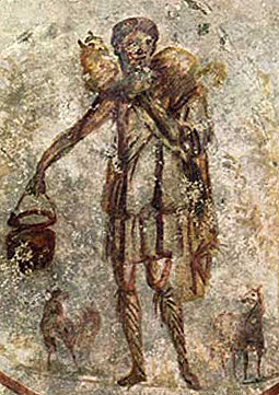Jesus the Good Shepherd<br>3rd century catacomb painting