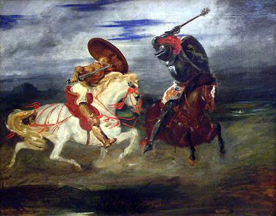 Combat de chevaliers dans la campagne<br>by Eugène Delacroix, 1824