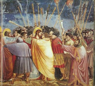 Betrayed with a kiss <br>by Giotto di Bondone, 1267-1337, <br>Fresco Painting in Scrovegni Chapel, <br>Padua, Italy