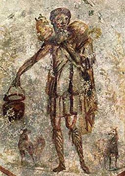 Jesus the Good Shepherd<br>3rd century catacomb painting