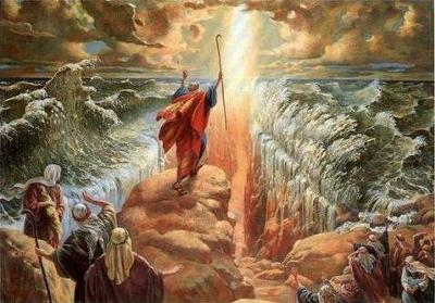 Moses, parting the Red Sea